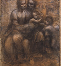 Leonardo da Vinci Cartoon of the Virgin and Child with St Anne and St John