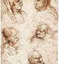 Leonardo da Vinci Five caricature heads