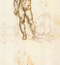 Leonardo da Vinci Study of David by Michelangelo detail1