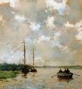 Weissenbruch Hendrik Johannes Rowing on the river Sun