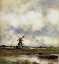 Weissenbruch Jan Man in a boat in a canal Sun
