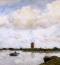 Weissenbruch Johannes Hendrik Mill at the lake Sun