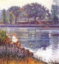 wendel girl seated by a pond