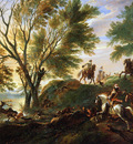 Wijck Jan The stag hunt Sun