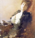 am Franciszek Zmurko Portrait of a Woman with a Fan and Ciga