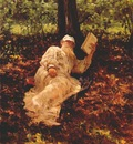 repin l n tolstoy resting in the woods