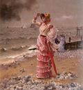 Stevens Alfred Femme Elegante Voyant Filer Un Vapeur