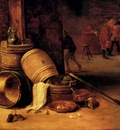 Teniers David An Interior Scene With Pots Barrels Baskets Onions And Cabbages