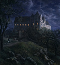 burg scharfenberg at night