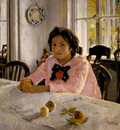 girl with peaches portrait of v s mamontova