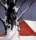 red barn and tree snow