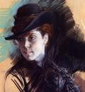 girl in a black hat
