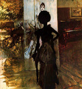 woman in black who watches the pastel of signora emiliana concha de ossa