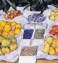 fruit displayed on a stand 1881