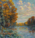by the river in autumn