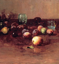 plums waterglass and peaches