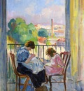 girl sewing at the window