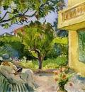 le cannet madame lebasque reading in the garden