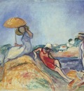 three women by the sea