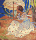 young woman with umbrella at st maxime