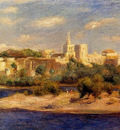 bathers on the banks of the thone in avignon