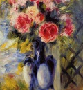 bouquet of roses in a blue vase