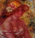 bust of a young girl wearing a straw hat