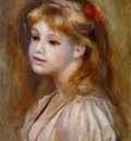 little girl with a red hair knot