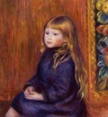 seated child in a blue dress