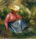 seated young girl with hat