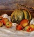 still life with cantalope and peaches