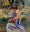the embroiderer also known as woman embroidering in a garden