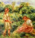 two young women in a landscape