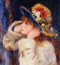 young girl in a hat decorated with wildflowers