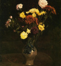 basket of carnations and zinnias
