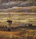 beach at scheveningen in stormy weather