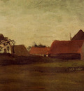 farmhouses in loosduinen near the hague in twilight