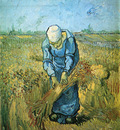 peasant woman binding sheaves after millet