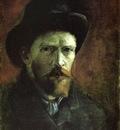 self portrait in a dark felt hat