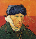 self portrait with bandaged ear and pipe