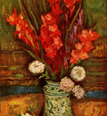 Still LIfe  Vase with Red Gladiolas