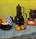 still life  blue enamel coffeepot earthenware and fruit