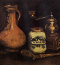still life with coffee mill pipe case and jug