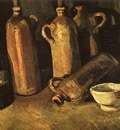 still life with four stone bottles flask and white cup