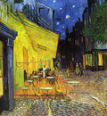 the cafe terrace on the place de forum arles at night
