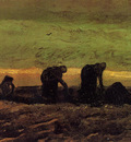 two peasant women in the peat fields