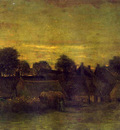village at sunset