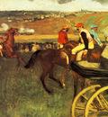 Le Champs de courses Jockeys amateurs pres d une voiture Huile sur Toile 66x81 cm Paris musee d Orsay
