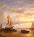 Hulk Abraham Dutch Fishing Vessels In A Calm At Sunset