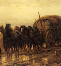 Schreyer Adolphe Hitching Horses To The Wagon
